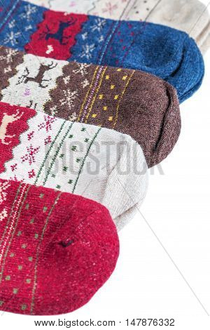 Christmas socks for the winter holiday isolated on white background