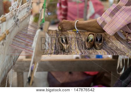 Traditional Hand-weaving Loom Being Used To Make Cloth