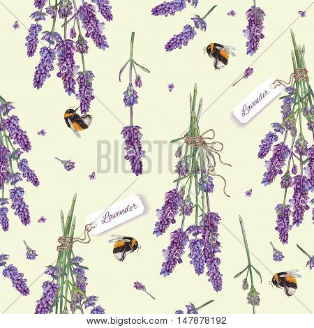 Lavender flowers seamless pattern with bees. Design for cosmetics, make up, store, beauty salon, natural and organic products, health care products, aromatherapy. Best for print, fabric, wrapping paper