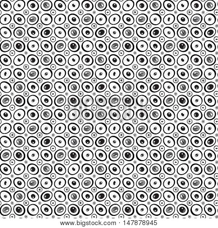 Abstract cartoon black and white eyes or pebbles seamless pattern. Beads or droplets abstract monochrome background. Can be used for website design pattern fill packaging clothing printing on surfaces.