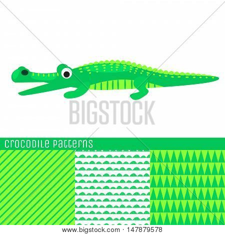 Cartoon crocodile vector illustration. Green kid alligator seamless patterns for textile print.