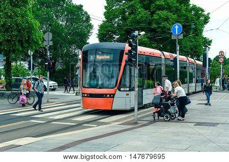 Bergen Norway - June 16: Modern tram on the street in Bergen on June 16 2016 Norway