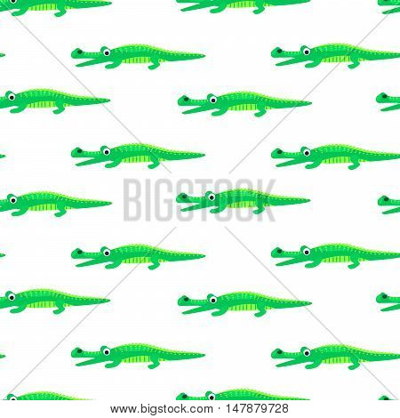 Crocodile green and white seamless pattern vector. Baby fabric print green and white wild reptile animal.