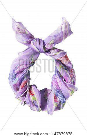 Purple chiffon kerchief knotted on white background