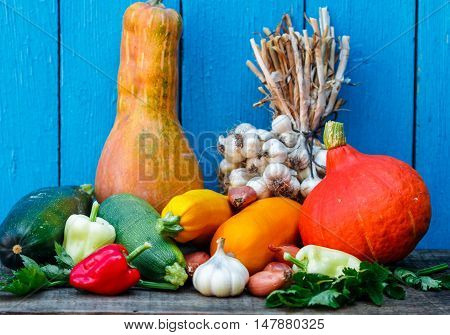 Organic Fresh Vegetables - Pumpkin, Shallots, Garlic, Bell Pepper, Celery, Zucchini, Yellow Squash O
