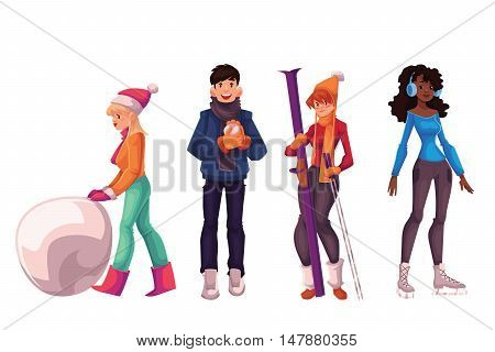 Young people having fun with winter activities, cartoon style vector illustration isolated on white background. Boys and girls making snowman, playing snowballs, skiing and ice scating