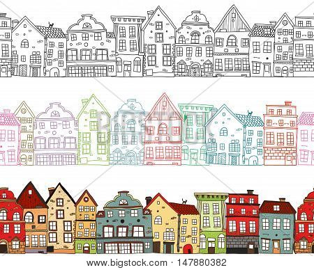 Houses seamless compositions with  monochrome town buildings with colored outlines and painted cityscape isolated vector illustration
