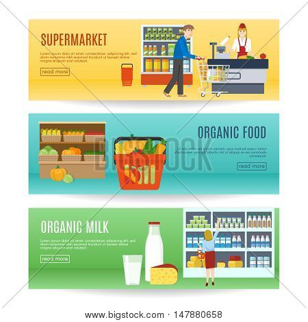 Shopping horizontal banners set with purchase at supermarket organic food natural dairy products isolated vector illustration