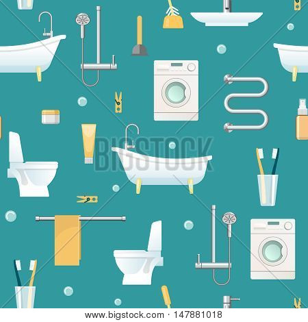 Bathroom seamless pattern with domestic appliances and sanitary equipment hygiene objects on blue background vector illustration