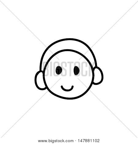 Webinar line icon, black and white. Symbol of happy listening person with headphones. Smiling face