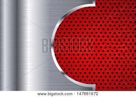 Metal background with red perforation. Vector illustration