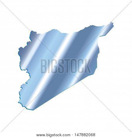 3D Vector Syria Map Iridium Blue Border Outline
