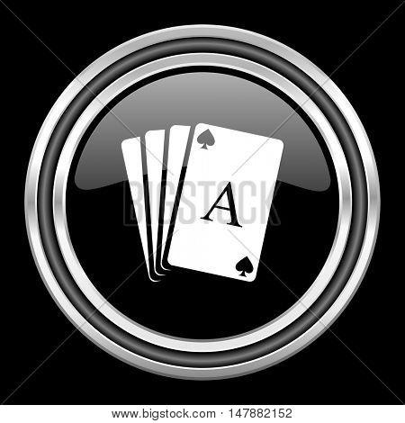 card silver chrome metallic round web icon on black background