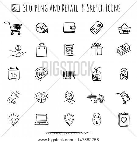 Thin line sketch styled vector web icon  set for E-commerce, retail and shopping.