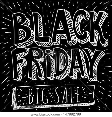 Black Friday comic book vector doodle. Big sale  retro style mock up.