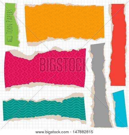 Multi colored torn paper an cardboard vector design element set.