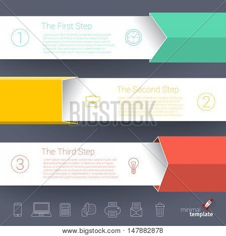 Modern business step by step charts and graphs options banner. Vector illustration modern design template