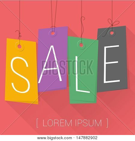 Sale promotion banner. Hanging tags vector template.