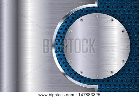 Metal background with perforation. Round plate with screws. Vector illustration