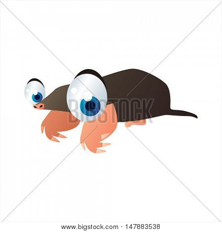 funny vector illustration of cute animal. Cartoon Mole