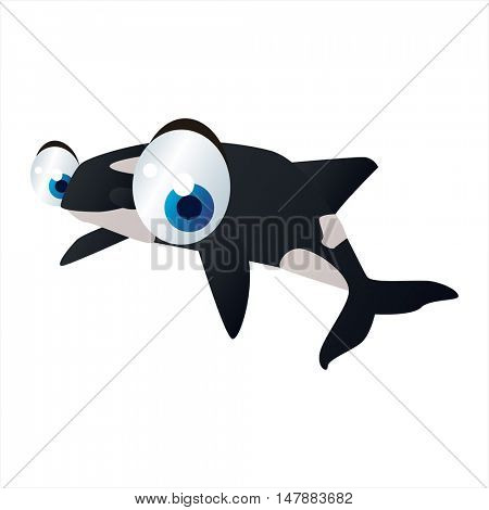 funny vector illustration of cute animal. Cartoon Orca Killer Whale