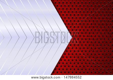 Metal background. Red perforated side. Vector illustration
