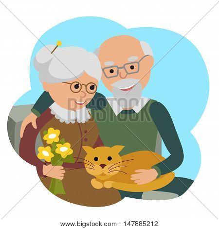 Social concept senior people couple. Vector illustration in cloud isolated white background.