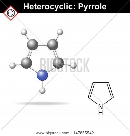 Pyrrole - five-membered organic heterocycle structural chemical formula and pc model 2d and 3d vector illustration isolated on white background eps 8