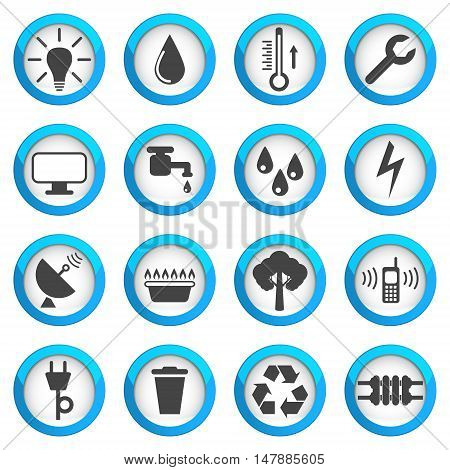 Utilities icon set 16 signs 2d vector illustrations on blue round pads eps 10