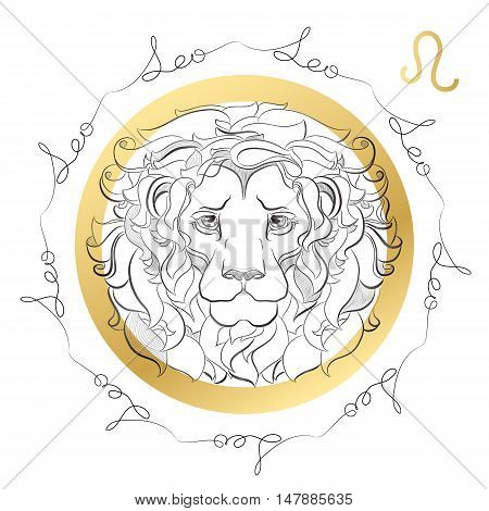 Hand drawn line art of decorative zodiac sign Leo on white background. Horoscope vintage card in zentangle style with words.