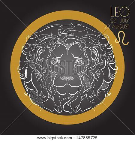 Hand drawn line art of decorative zodiac sign Leo on black background. Horoscope vintage card in zentangle style.
