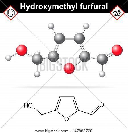 Hydroxymethylfurfural chemical structure and model 2d and 3d vector illustration on white background eps 8