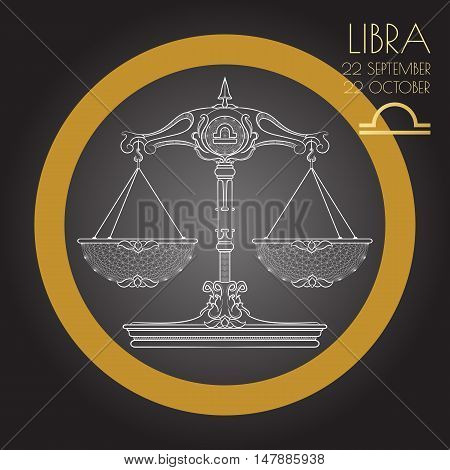 Hand drawn line art of decorative zodiac sign Libra on black background. Horoscope vintage card in zentangle style.