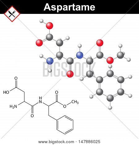 Aspartame - artificial sweetener chemical model and molecular structure E951 food additive 2d and 3d vector illustration isolated on white background eps 8