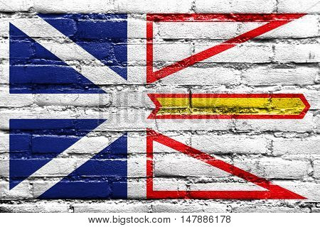 Flag Of Newfoundland And Labrador Province, Canada, Painted On Brick Wall