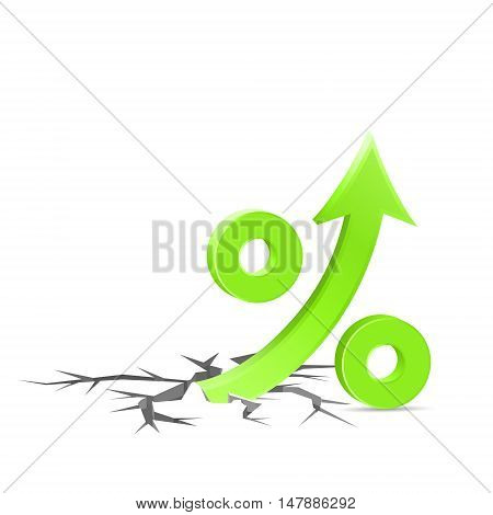 Percent up sign breaks through the surface high rates concept icon 3d vector illustration on white background eps 10
