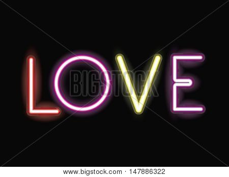 love neon font icon. Text typography decoration and advertising theme. Colorful design. Vector illustration
