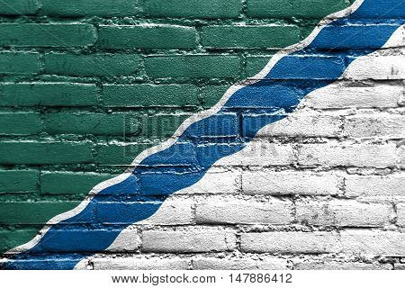 Flag Of Novosibirsk, Russia, Painted On Brick Wall