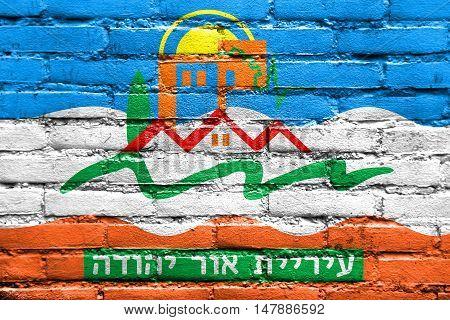Flag Of Or Yehuda, Israel, Painted On Brick Wall