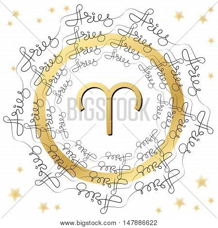 Decorative zodiac sign Aries on white background. Horoscope vintage card  with words and stars.