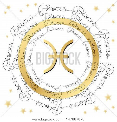Decorative zodiac sign Pisces on white background. Horoscope vintage card with words and stars.