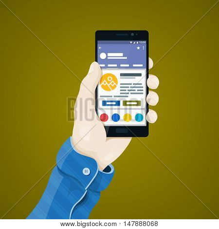 Hand with phone vector illustration in flat style. Man's hand holding a phone concept. Black Smartphone with internet shop on the screen. Ecommerce. Mobile app vector clipart