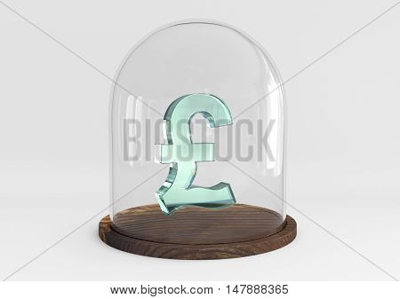 3D pound sign crystal protected under a glass dome isolated on white background