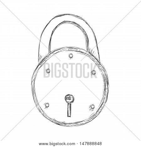Vector Single Sketch Padlock