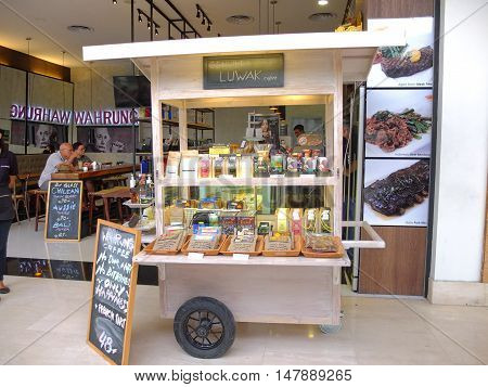 BALI, INDONESIA - SEPTEMBER 18, 2016: Coffee stall and restaurant selling Indonesian Luwak coffee, Bali, Indonesia.