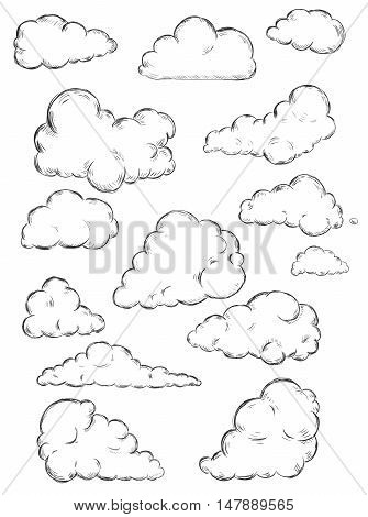Vector Set Of Sketch Clouds