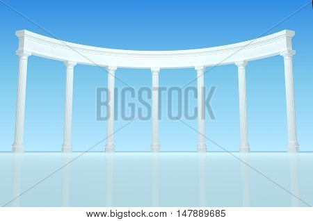 3D illustration of a white colonnade in the background of blue clear sky