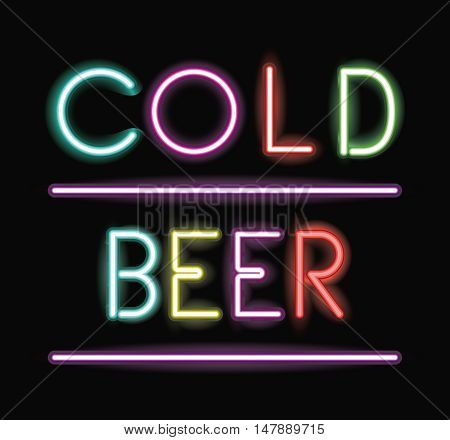 Cold beer neon font icon. Text typography decoration and advertising theme. Colorful design. Vector illustration