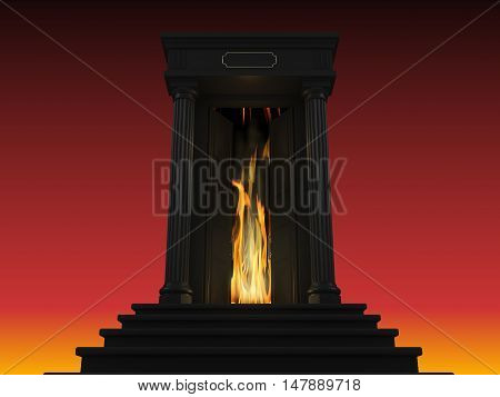 3D illustration of a ladder to hell with a portico and a door behind which lit the flame