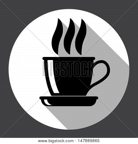 Steaming Coffee Cup Web Icon Black Flat Design Vector Illustration